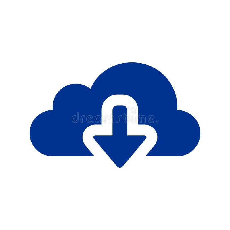 Downloadvektorikone Flaches Zeichen für bewegliches Konzept und Webdesign Wolke mit des Pfeiles einfacher fester Ikone unten stock abbildung