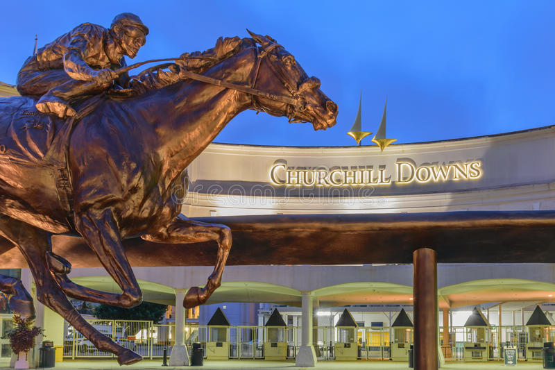 Downs After Dark. Louisville, Kentucky, USA - Sept. 18, 2016: Main Entrance to Churchill Downs home of the Kentucky Derby on the 1st Saturday in May stock photo