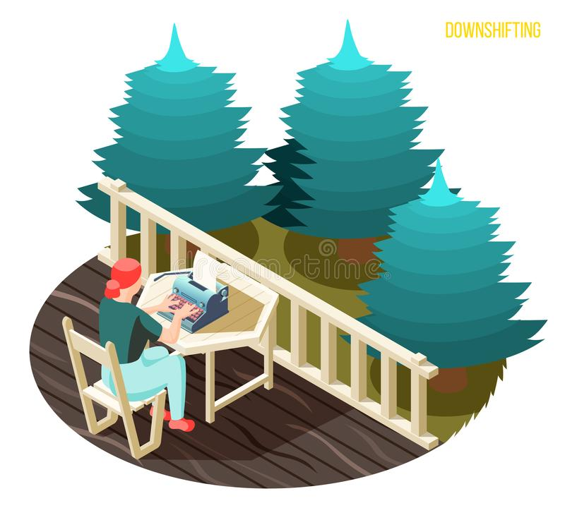 Downshifting Isometric Composition royalty free illustration