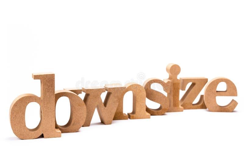 Downsize det Wood ordet royaltyfria bilder