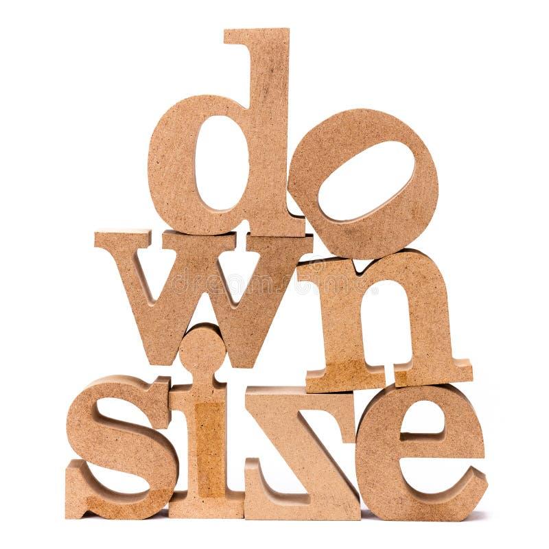 Downsize det Wood ordet arkivbild