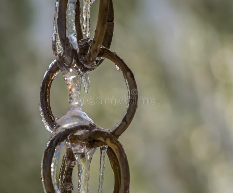 Downspout de cobre congelado do anel com fundo do bokeh fotografia de stock royalty free