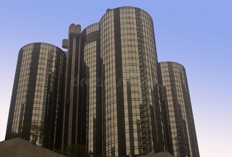 Downton Los Angeles In Reflection And Glass. Royalty Free Stock Photos