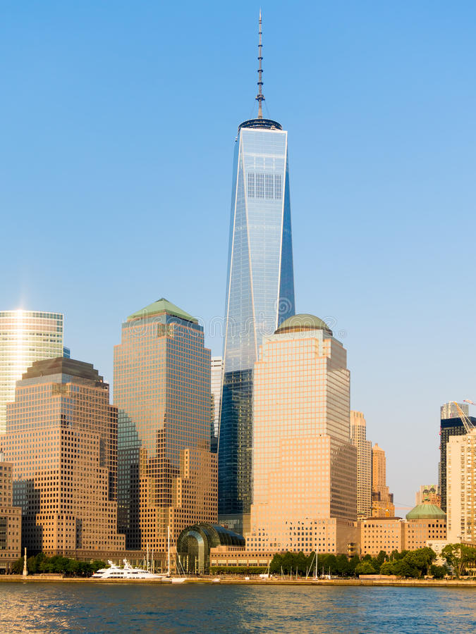 The downton Manhattan skyline. Including One World Trade Center royalty free stock image