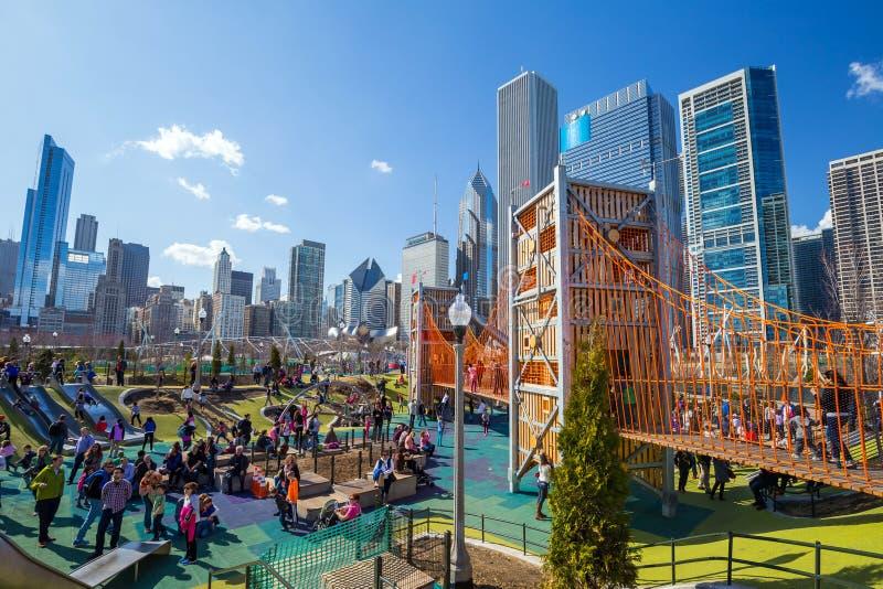 Downtown's Nowy boisko: Maggie Daley park zdjęcie royalty free