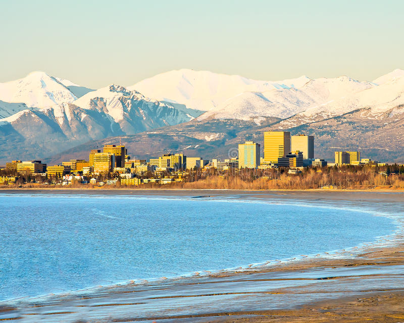 Downtown Anchorage. A view of downtown Anchorage from across the bay at Earthquake park royalty free stock image