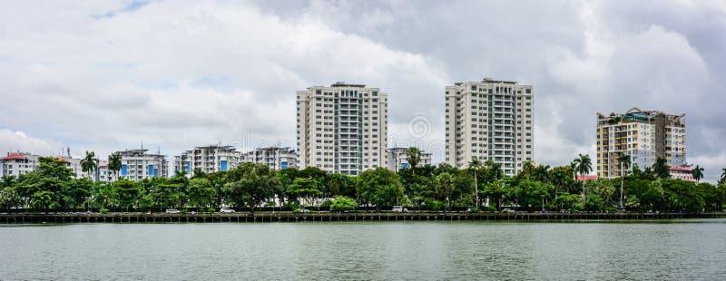 Downtown area of Yangon, beside Kandawgyi Lake, Myanmar, May-2017 royalty free stock image