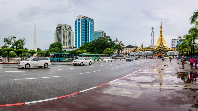 Downtown area of Yangon in the rainy season, Myanmar, June-2017 royalty free stock images
