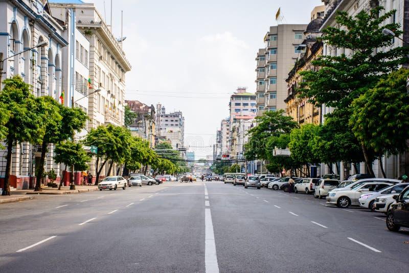 Downtown area of Yangon, Pansodan Street, Myanmar, may-2017 royalty free stock photography