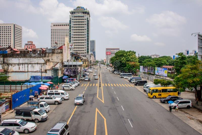 Downtown area of Yangon, General Aung San Road, Myanmar, may-2017 royalty free stock images