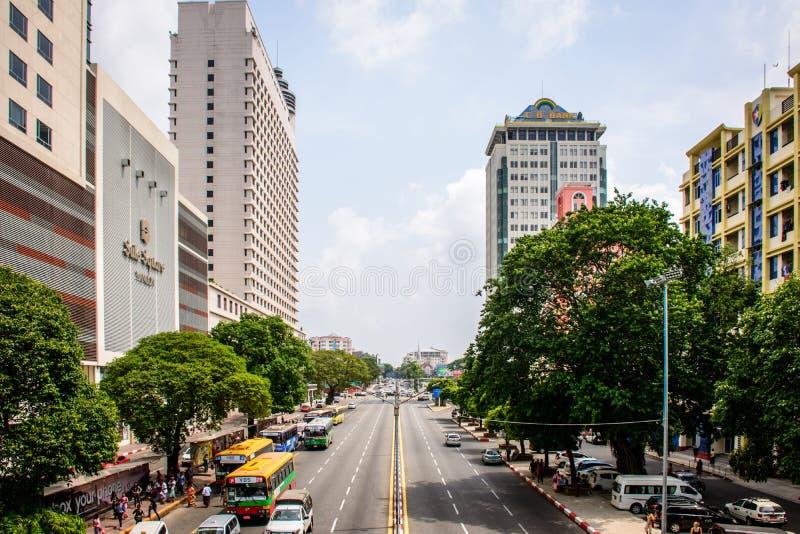 Downtown area of Yangon, Sule Pagoda Road, Myanmar, may-2017 royalty free stock image