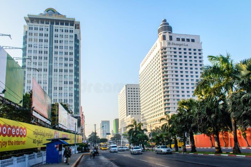 Downtown area of Yangon, Sule pagoda road, Myanmar, Feb-2018.  royalty free stock photography