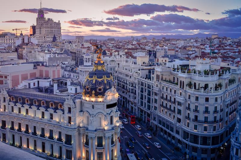 Downtown areal view of Madris from the Circulo de Bellas Artes at sunset with colourful sky, Spain. Downtown areal view of Madris from the Circulo de Bellas stock images