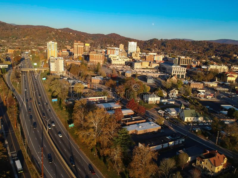 Downtown Asheville, North Carolina. Aerial drone view of the city in the Blue Ridge Mountains during Autumn / Fall Season.  Archit. Ecture, Buildings, Cityscape stock image