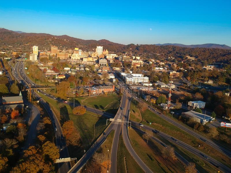 Downtown Asheville, North Carolina. Aerial drone view of the city in the Blue Ridge Mountains during Autumn / Fall Season.  Archit. Ecture, Buildings, Cityscape stock photography