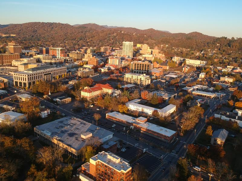 Downtown Asheville, North Carolina. Aerial drone view of the city in the Blue Ridge Mountains during Autumn / Fall Season.  Archit. Ecture, Buildings, Cityscape stock photos