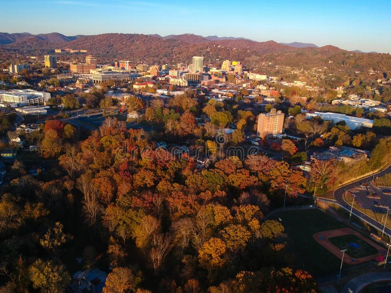 Downtown Asheville, North Carolina. Aerial drone view of the city in the Blue Ridge Mountains during Autumn / Fall Season.  Archit. Ecture, Buildings, Cityscape stock images