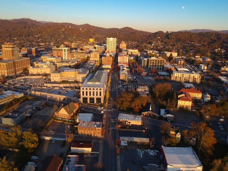 Downtown Asheville, North Carolina. Aerial drone view of the city in the Blue Ridge Mountains during Autumn / Fall Season.  Archit. Ecture, Buildings, Cityscape royalty free stock image