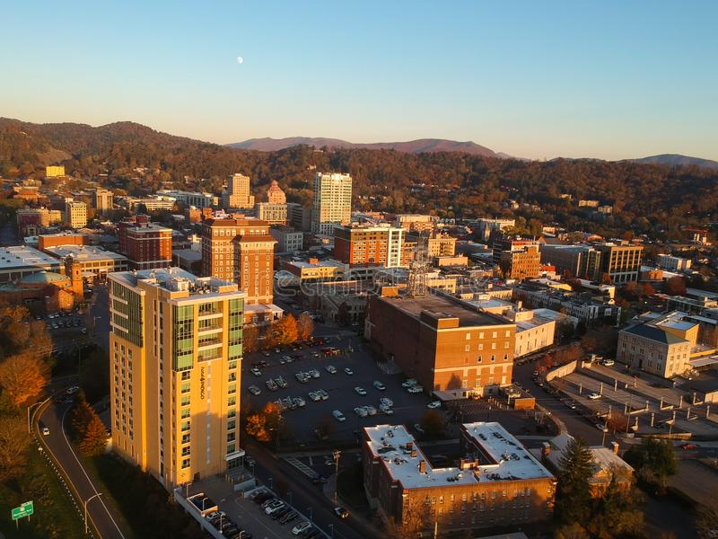 Downtown Asheville, North Carolina. Aerial drone view of the city in the Blue Ridge Mountains during Autumn / Fall Season.  Archit. Ecture, Buildings, Cityscape royalty free stock images
