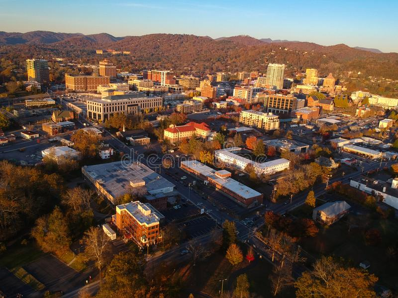 Downtown Asheville, North Carolina. Aerial drone view of the city in the Blue Ridge Mountains during Autumn / Fall Season.  Archit. Ecture, Buildings, Cityscape stock photo