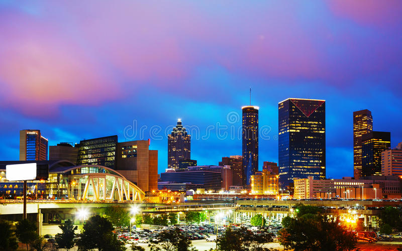 Downtown Atlanta at night time royalty free stock images