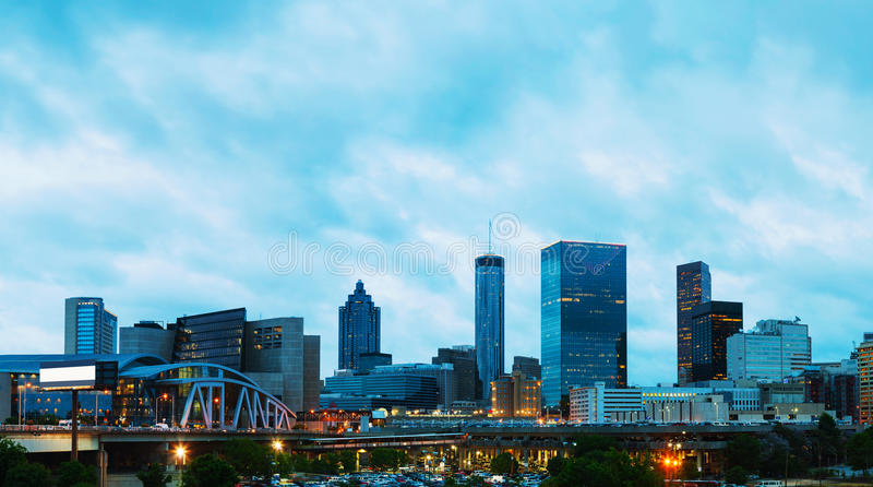 Downtown Atlanta at night time stock photography