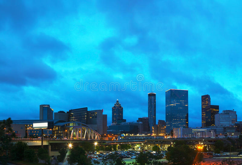 Downtown Atlanta at night time stock images