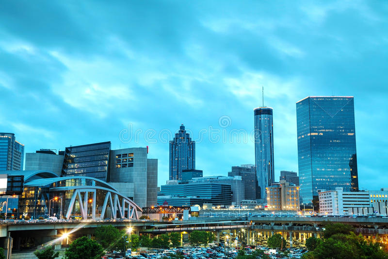 Downtown Atlanta at night time stock photography