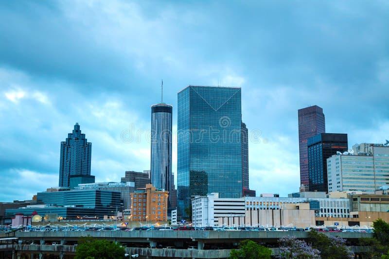 Downtown Atlanta at night time stock photo