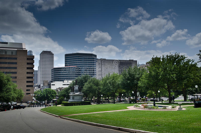Downtown Austin. Scenic view of skyscraper and offices in downtown Austin city with the capitol park in foreground, Texas, U.S.A stock photography