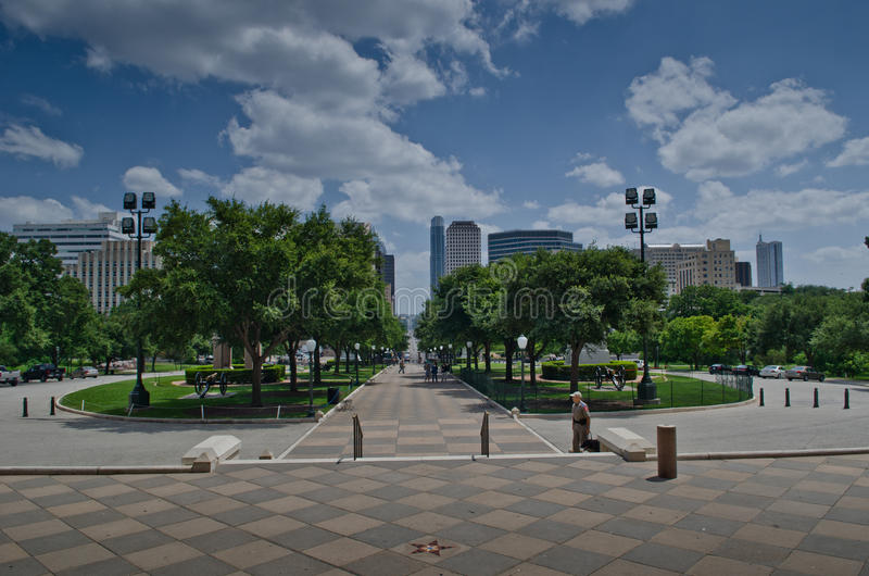 Downtown Austin. Scenic view of skyscraper and offices in downtown Austin city with the capitol park in foreground, Texas, U.S.A royalty free stock photo