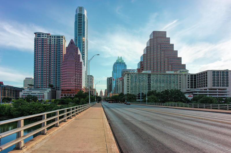 Downtown Austin with Capitol Building. A view of downtown Austin, Texas from the Congress Street bridge with the state Capitol building visible royalty free stock photos