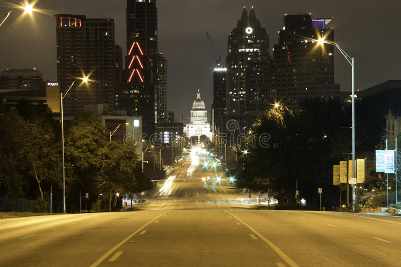Downtown Austin at night stock photography