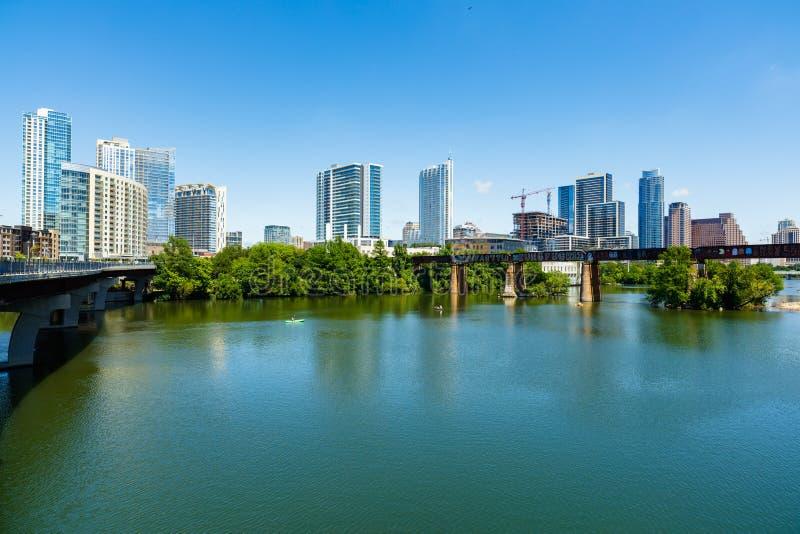 Downtown Austin Skyline. Skyline view of downtown Austin, Texas along the Colorado River stock image