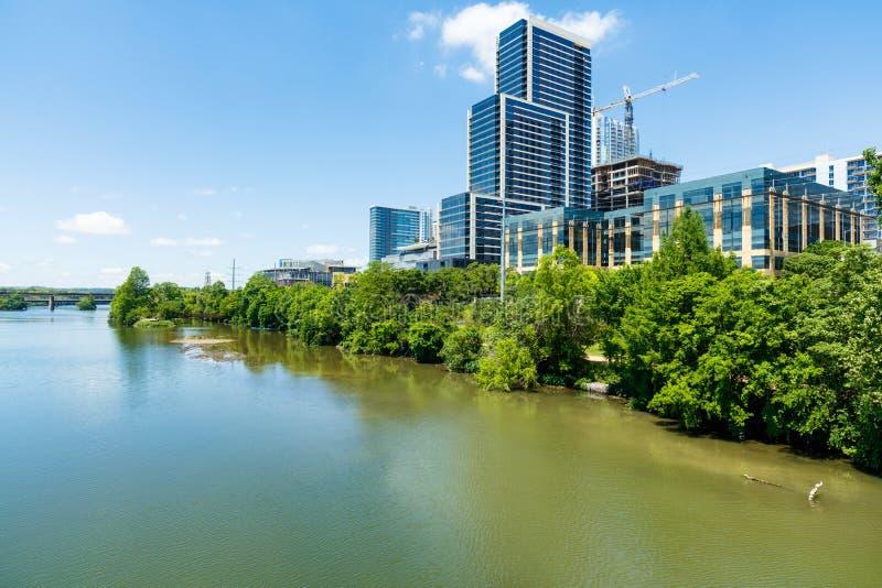 Downtown Austin Skyline. Skyline view of downtown Austin, Texas along the Colorado River stock photography