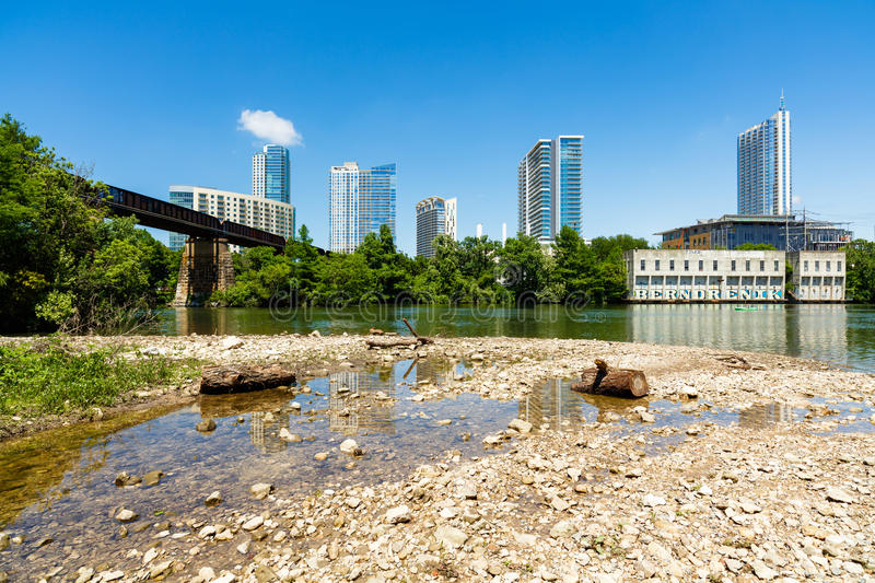 Downtown Austin Skyline. Skyline view of downtown Austin, Texas from the bank of the Colorado River stock photo