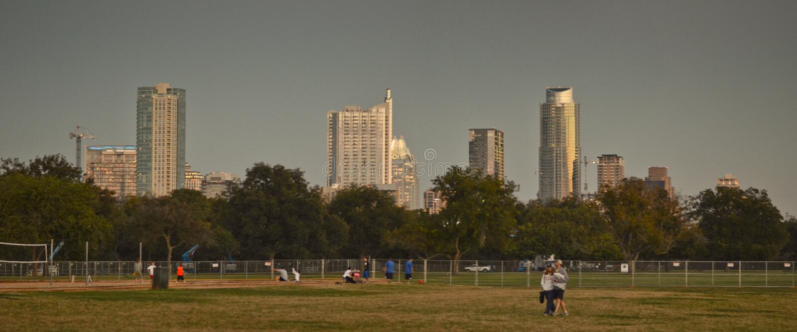 Downtown Austin at sunset stock images