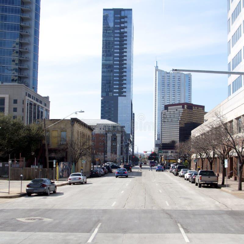 Downtown Austin, Texas. One way street in downtown Austin, Texas, USA stock photos