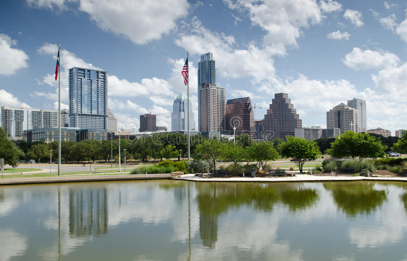 Downtown Austin Texas. Modern buildings reflection in downtown Austin skyline stock photography