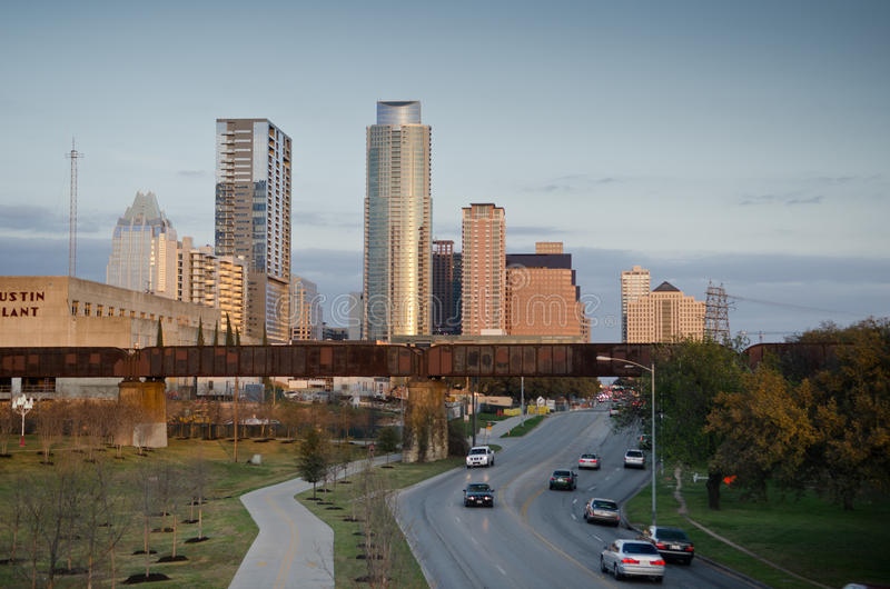 Downtown Austin Texas. Cesar Chaves road and modern buildings in the background in downtown Austin , Texas stock photography