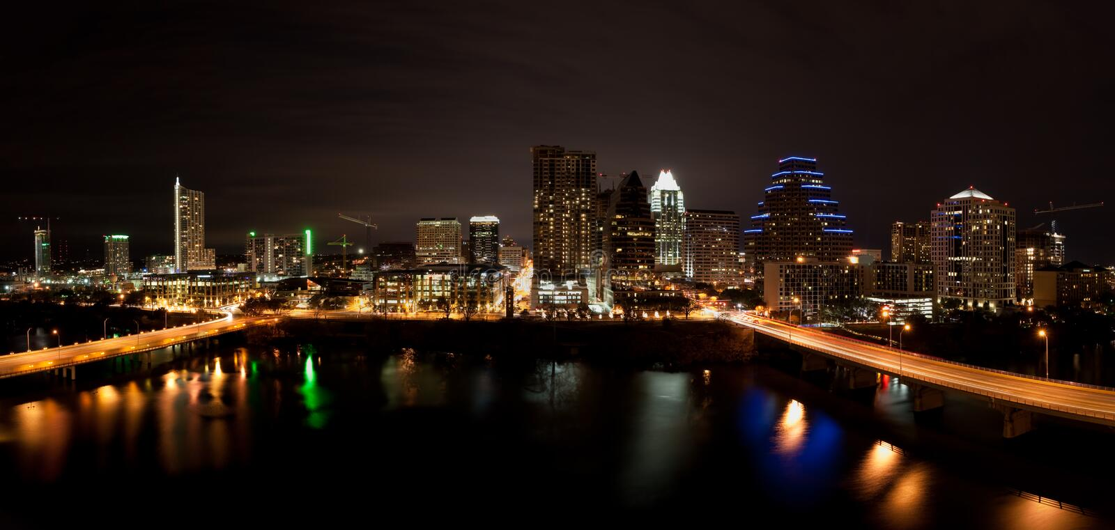 Downtown Austin Texas Cityscape at Night royalty free stock images