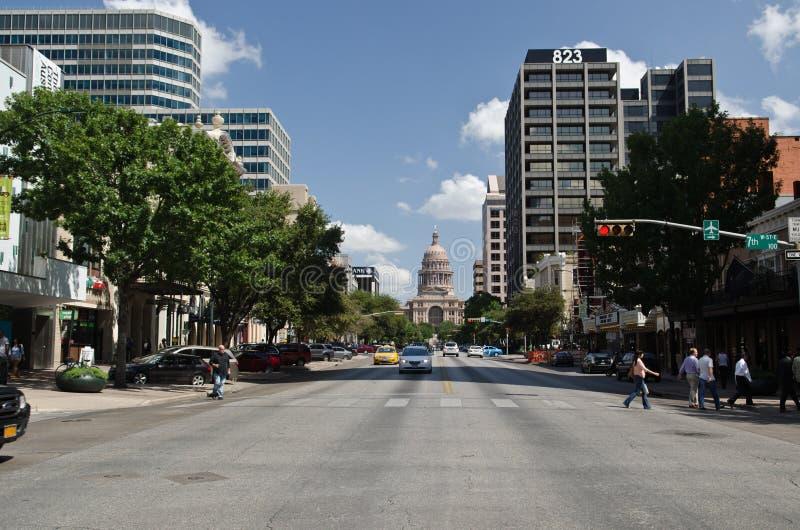 Downtown Austin Texas. Congress street in downtown Austin, Texas stock photo