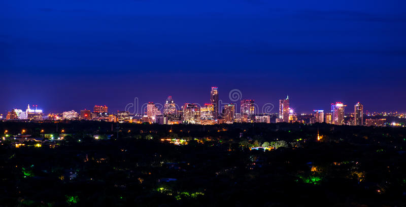 Downtown Austin Texas Night Cityscape Mount Bonnell royalty free stock image