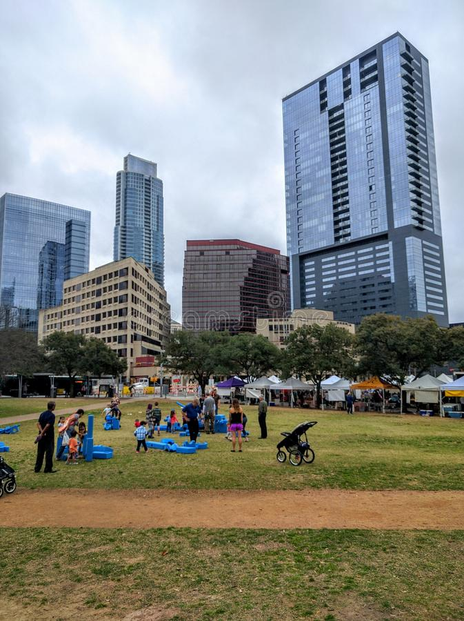Downtown Austin Texas. People in a park in downtown Austin Texas royalty free stock photo