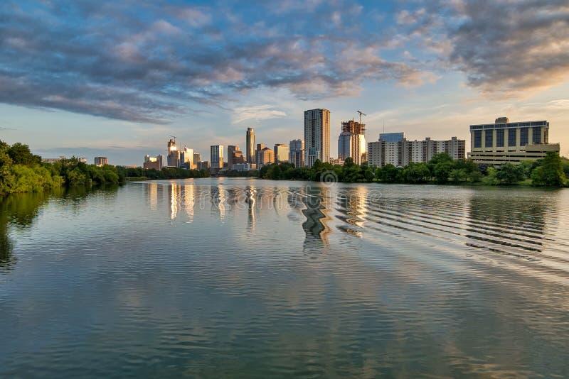 Downtown Austin, Texas Sunrise, omkring 2018 arkivbilder