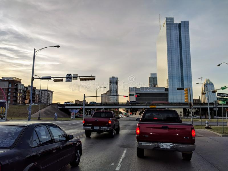 Downtown Austin Texas. During sunset stock photo