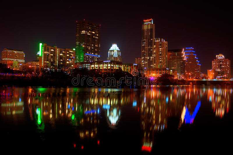 Downtown Austin, Tx Fireworks. For new years royalty free stock images
