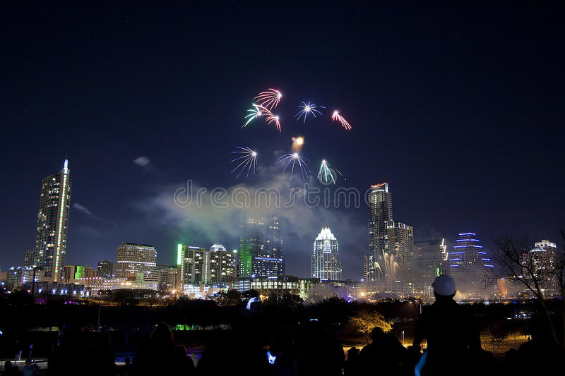 Downtown Austin, Tx Fireworks. For new years stock photography