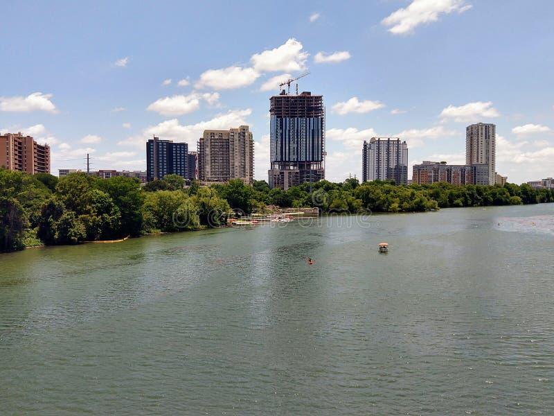 Downtown Austin TX. Lady bird lake in downtown Austin Texas stock image