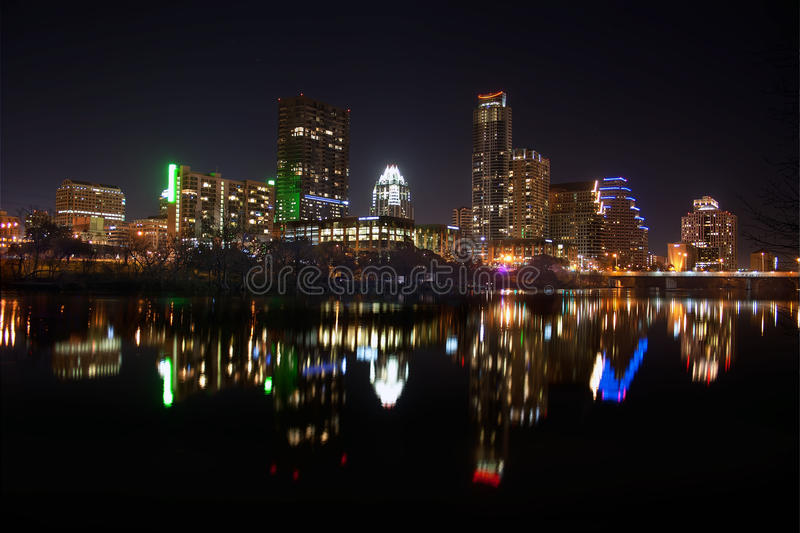 Downtown Austin, Tx at Night. Lovely night shot of downtown Austin, Tx across from Lady Bird Lake stock photo